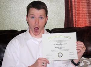 Nils and his hard earned diploma